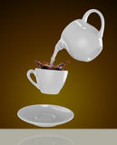 Milk being poured into small cup of coffee. 3d. Rendering Stock Image
