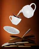 Milk being poured into small cup of coffee. 3d. Rendering Stock Photo