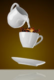 Milk being poured into small cup of coffee. 3d. Rendering Stock Photos