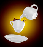 Milk being poured into small cup of coffee. 3d. Rendering Stock Images