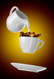 Milk being poured into small cup of coffee. 3d. Rendering Royalty Free Stock Photography