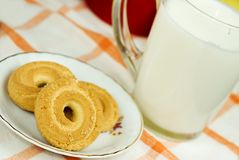 Milk and biscuit Royalty Free Stock Photography