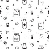 Milk and biscuit scandinavian seamless vector pattern. Milk and biscuit scandinavian seamless vector baby pattern. Dairy fun kid black and white pattern with Royalty Free Stock Photography