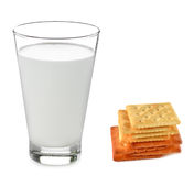 Milk, biscuits,  isolated put on  white background. Royalty Free Stock Photo