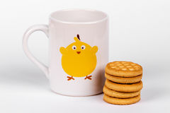 Milk and biscuits Stock Images