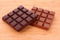 Milk and black chocolate Stock Photography