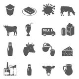 Milk black icons set Royalty Free Stock Image