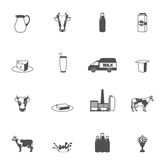 Milk Black Icons Set Royalty Free Stock Images