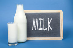 Milk on blackboard Royalty Free Stock Image