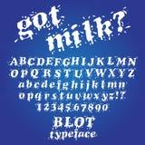 Milk blot typeface. Got milk. White blot typeface. Liquid Splash Font and Numbers Set Stock Photos
