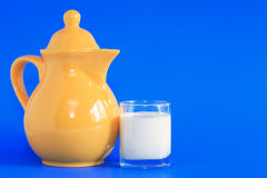 Milk On Blue Royalty Free Stock Photography