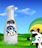 Milk bottle. An illustration of a milk bottle with cow graphic Royalty Free Stock Photos
