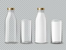 Free Milk Bottle And Glass. Empty And Full Milk Realistic Bottles Glasses Dairy Beverage Product Isolated Vector Mockup Stock Photo - 144212390