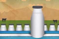 Milk bottle. Mockup milk bottle background stock illustration