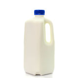 Milk Bottle with blud Cap Isolated on White Background Royalty Free Stock Photography
