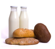 Milk bottle bread. A white background Royalty Free Stock Images