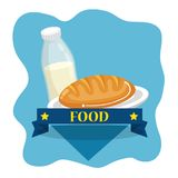 Milk bottle and bread. Vector illustration design Royalty Free Stock Images