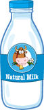 Milk Bottle With Cartoon Cow Head Label Royalty Free Stock Image