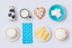 Milk bottle, cheese and dairy products Stock Images