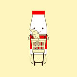 Milk bottle with croissant in shopping basket Royalty Free Stock Photo