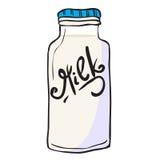 Milk bottle. Doodle  on white Royalty Free Stock Photo