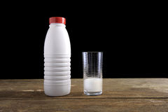 Milk bottle and empty glass Royalty Free Stock Photography