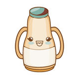 Milk bottle kawaii style isolated icon Royalty Free Stock Photography