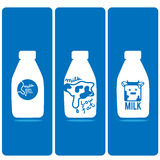 Milk bottle logo cartoon Royalty Free Stock Photos