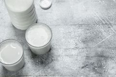 The milk in the bottle. On a rustic background royalty free stock photo