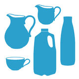 Milk bottle, pitcher, jug, canister. Royalty Free Stock Images