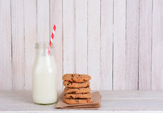 Milk Bottle Straw Cookies Stock Photography