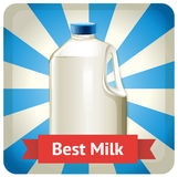 Milk bottle with text Stock Photo