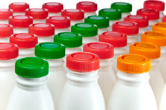 Milk bottles Stock Image