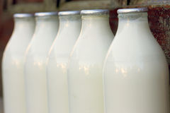 Milk bottles. Delivered on a doorstep Royalty Free Stock Photography