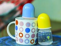 Milk bottles. The Milk bottles of child Stock Photos