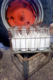 Milk bottles in crate. Fresh milk bottles in crate from a farm Stock Image
