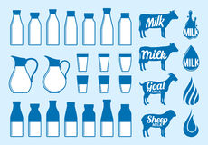 Milk bottles, glasses, icons and design elements Stock Photo