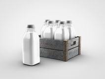 Milk bottles. On white background Royalty Free Stock Photography