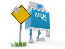 Milk box character with blank road sign. On white background Stock Photography
