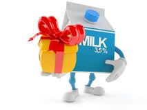 Milk box character holding gift. Isolated on white background Royalty Free Stock Images