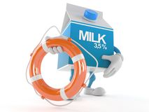 Milk box character holding life buoy. On white background Royalty Free Stock Images
