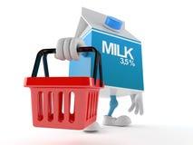 Milk box character holding shopping basket. On white background Stock Photo