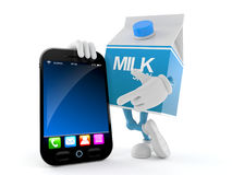Milk box character with smart phone. Isolated on white background Stock Image