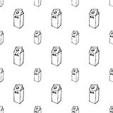 Milk box doodle seamless pattern on white Royalty Free Stock Photography