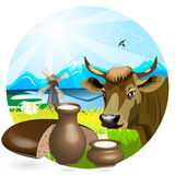Milk and bread Stock Photos
