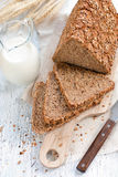 Milk and bread. Healhy food concept Royalty Free Stock Photo
