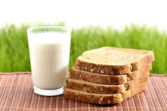 Milk with bread Royalty Free Stock Photo