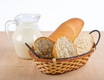 Milk and bread in basket Stock Images