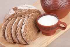 Milk and bread. Breakfast. Royalty Free Stock Photo