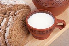 Milk and bread. Breakfast. Royalty Free Stock Photos